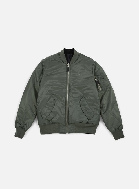 giacche huf elite reversible ma 1 jacket olive drab black