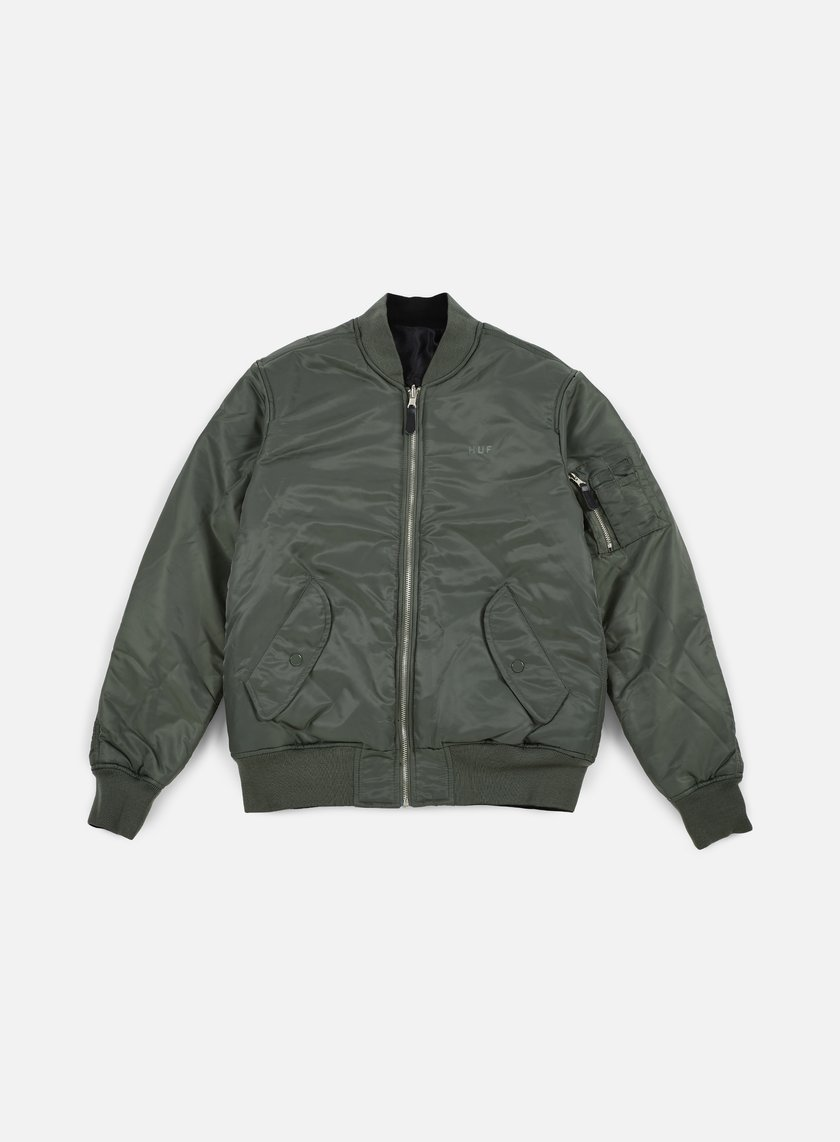 Huf - Elite Reversible MA-1 Jacket, Olive Drab/Black