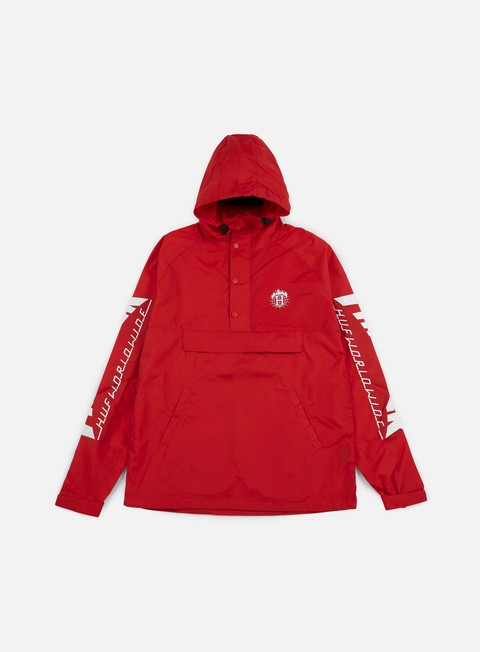 giacche huf thrasher tds anorak jacket red