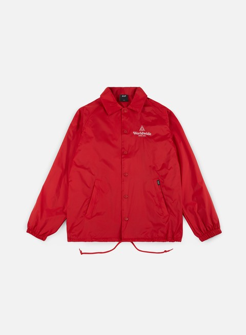 giacche huf worldwide coaches jacket red