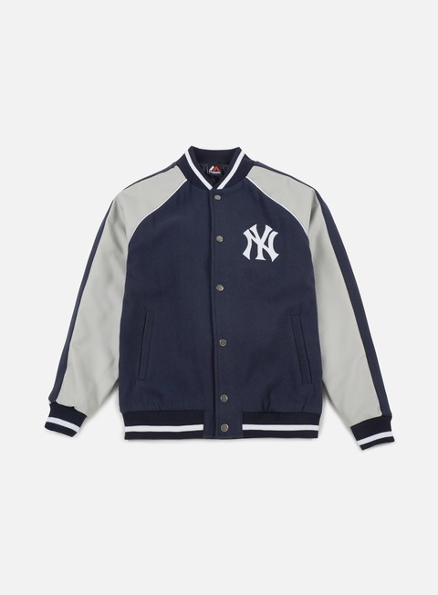 giacche majestic melton letterman jacket ny yankees navy grey