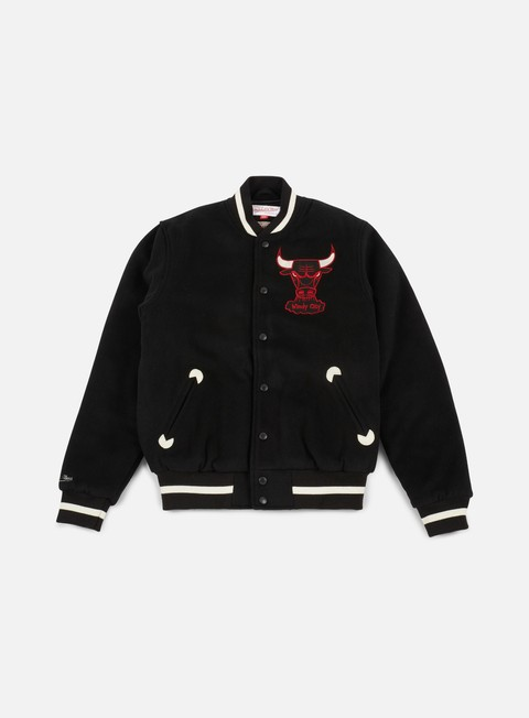 giacche mitchell e ness in the stands varsity jacket chicago bulls black
