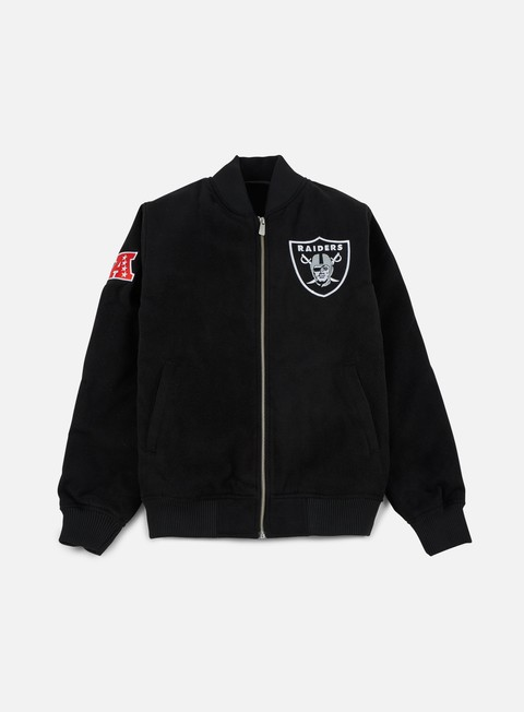 Bomber New Era Team Apparel Melton Bomber Jacket Oakland Raiders
