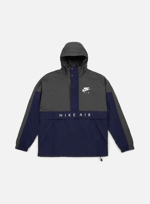 giacche nike air half zip hooded jacket anthracite obsidian