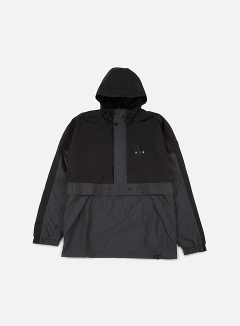 giacche nike air half zip hooded jacket black anthracite