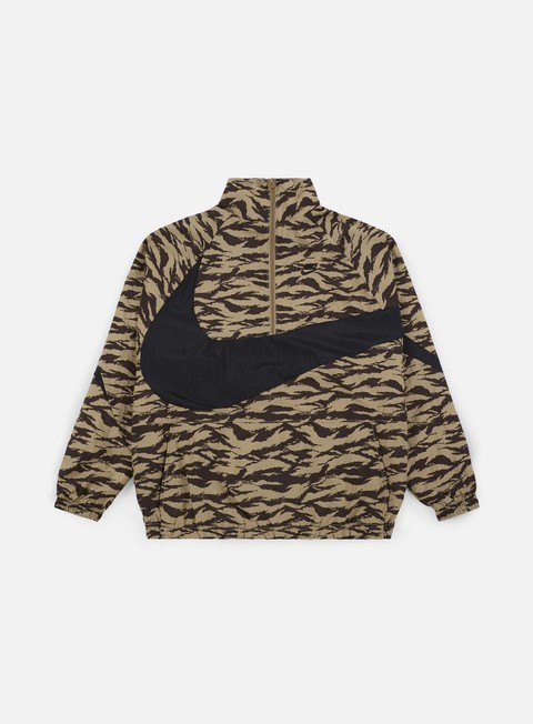 giacche nike aop swoosh half zip jacket khaki black black