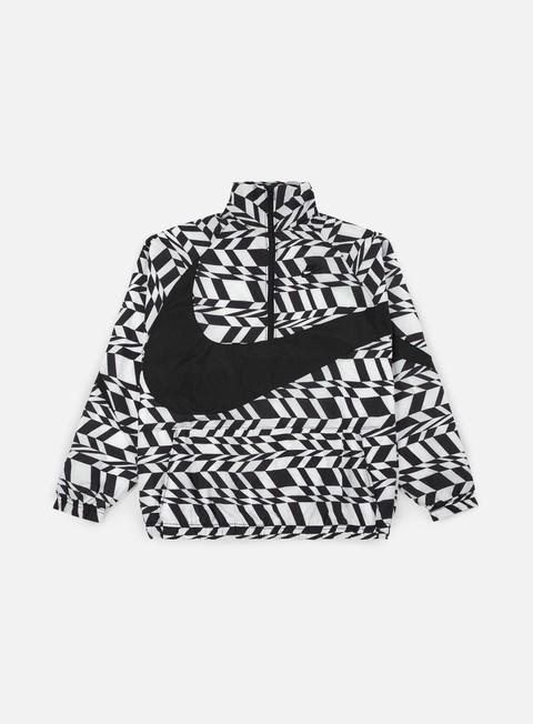 giacche nike aop swoosh half zip jacket white black black