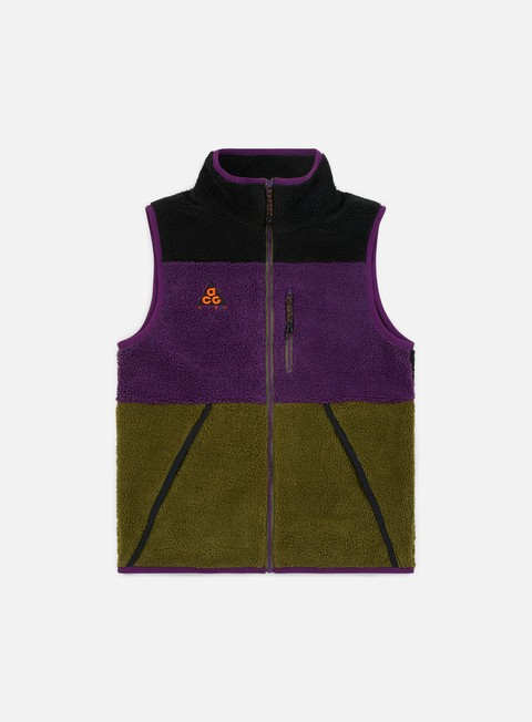 giacche nike nsw acg vest black olive canvas night purple