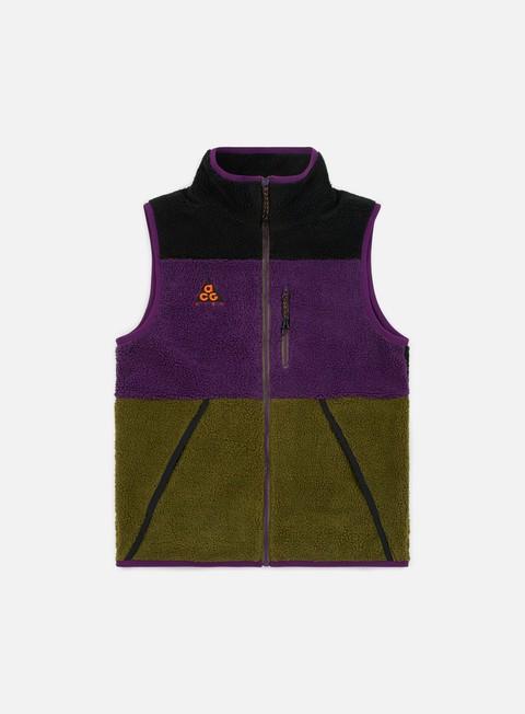 giacche nike nsw acg vest black olive canvas night purple