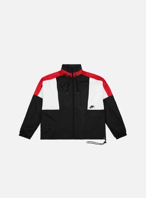 giacche nike nsw re issue woven jacket black university red summit white black