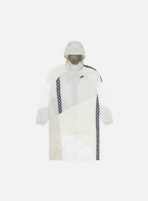 giacche nike nsw taped woven long jacket sail black