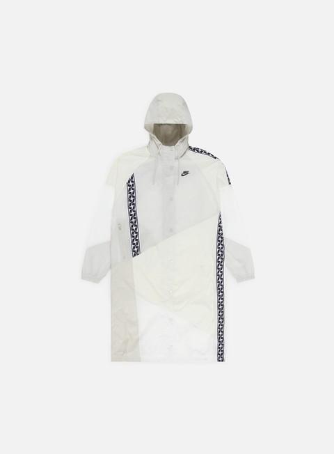 giacche nike nsw taped woven long jacket sail black