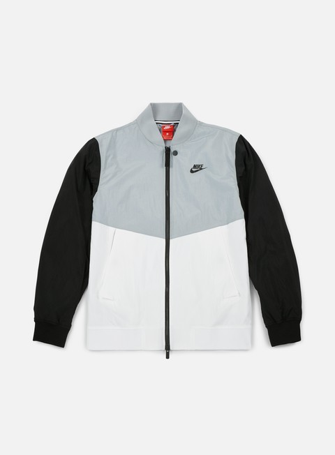 giacche nike nsw varsity jacket wolf grey white black