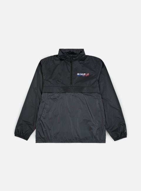 giacche nike sb anorak pack hood jacket black anthracite solar red