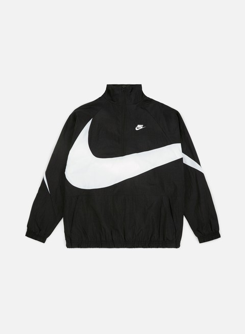 giacche nike swoosh woven half zip jacket black white