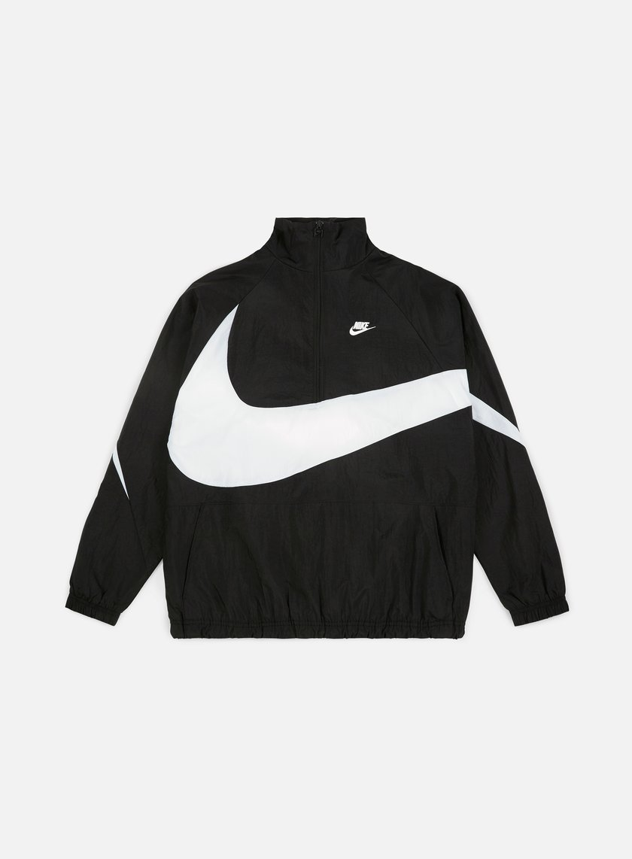 lago boom debole  Nike Swoosh Woven Half Zip Jacket Men, Black White | Graffitishop