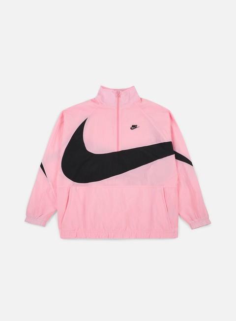 giacche nike swoosh woven half zip jacket pink black