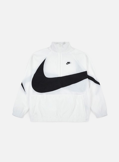 giacche nike swoosh woven half zip jacket white black