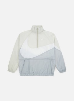 Nike - Swoosh Woven Half Zip Jacket, Wolf Grey/White