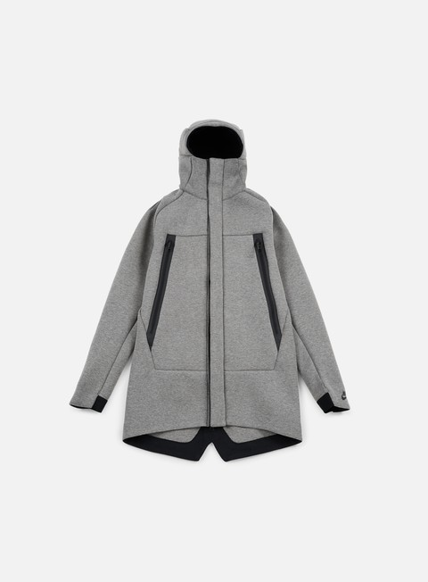 giacche nike tech fleece parka jacket 3mm carbon heather black