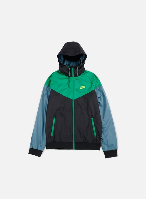 giacche nike windrunner black green electro lime