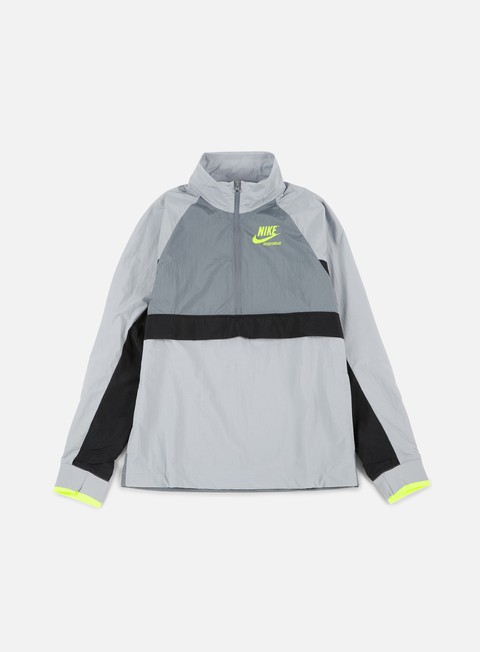 giacche nike woven archive half zip jacket wolf grey cool grey