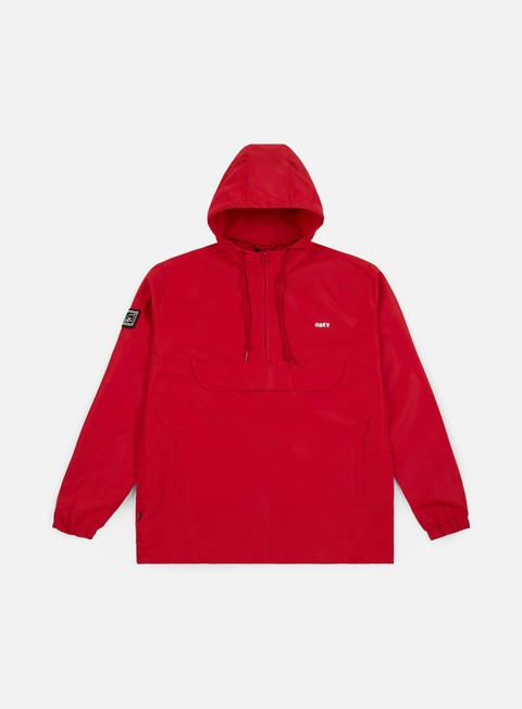 giacche obey crosstown ii anorak jacket hot red