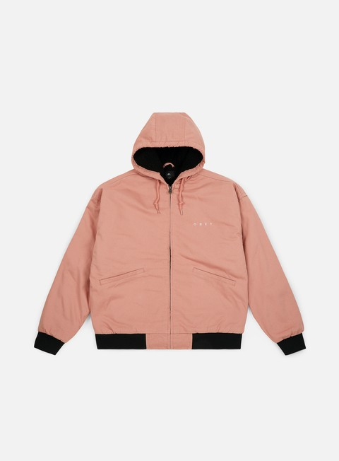 giacche obey dillinder hooded jacket rose