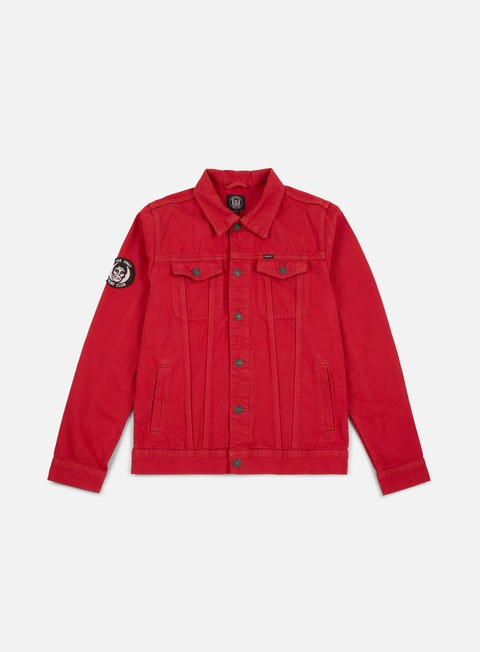 giacche obey misfits denim jacket red