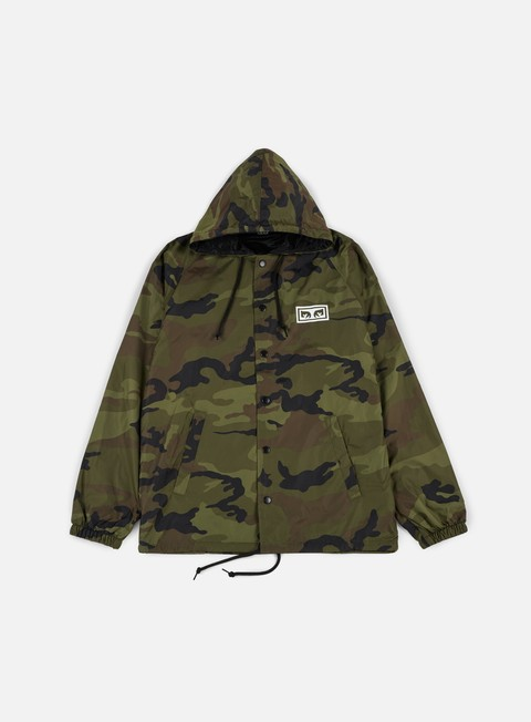 giacche obey no one hooded coach jacket camo