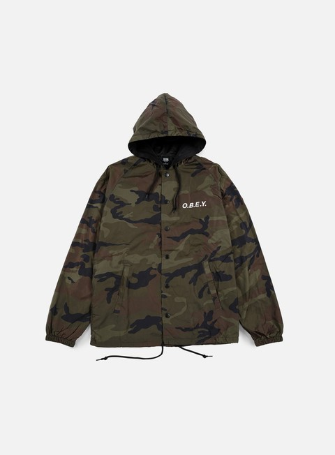 giacche obey obey hooded coach jacket field camo