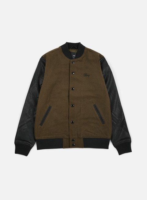 giacche obey soto collegiate jacket dark army