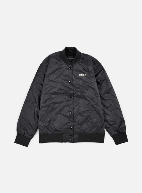 giacche obey wmns hooligans satin bomber jacket black