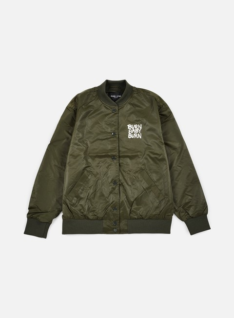 giacche obey wmns hooligans satin bomber jacket forest army
