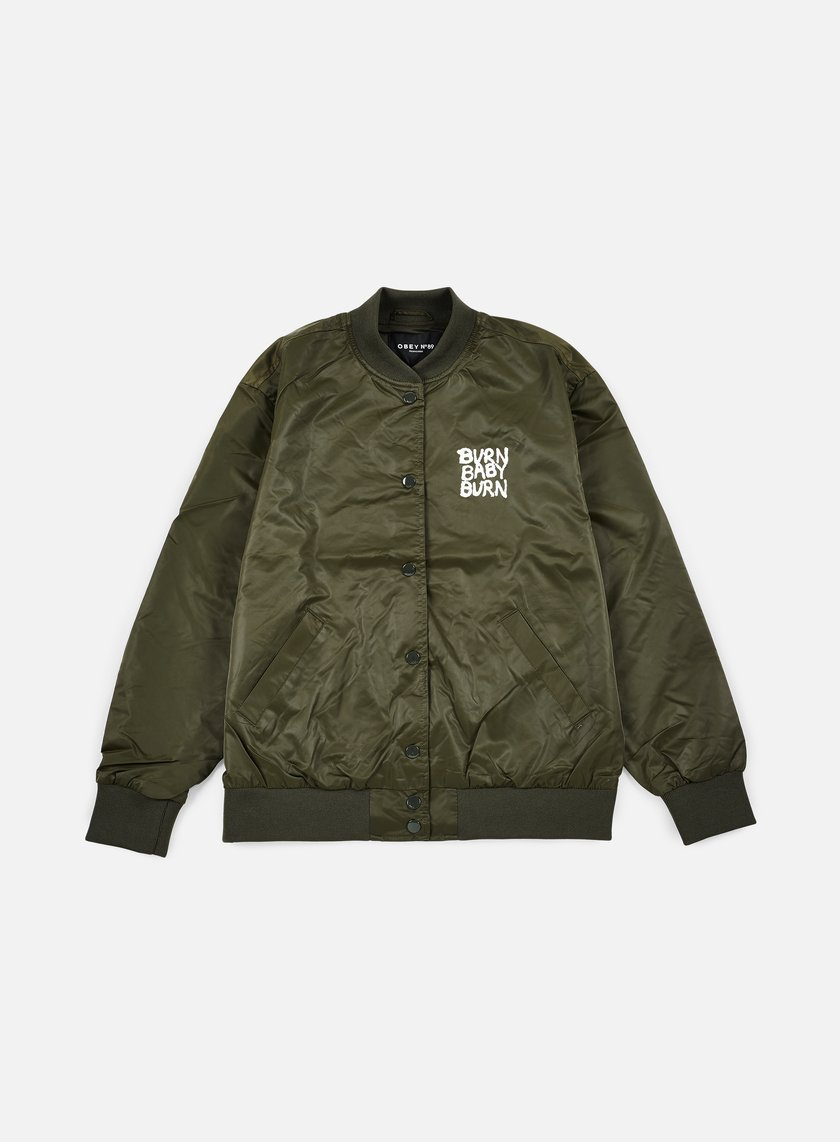 Obey - WMNS Hooligans Satin Bomber Jacket, Forest Army