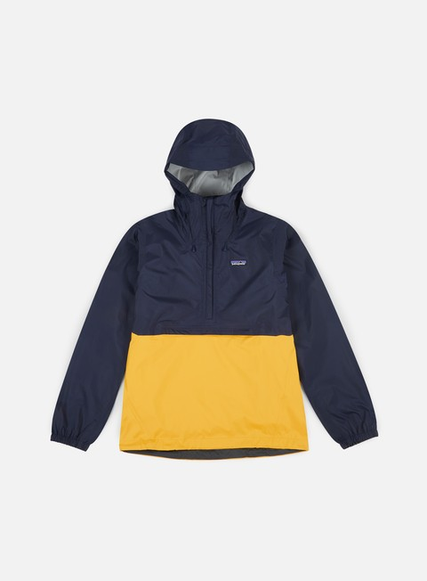 giacche patagonia torrentshell pullover jacket navy blue rugny yellow