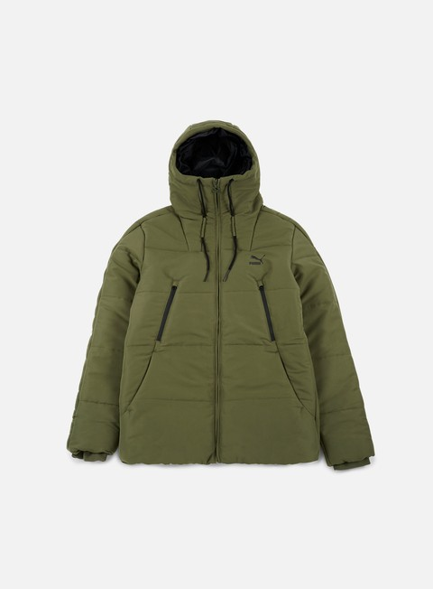 giacche puma archive logo padded jacket olive night