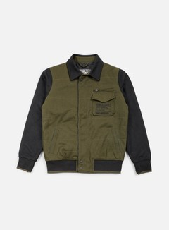 Rebel 8 - Mens Varsity Jacket, Olive/Black 1