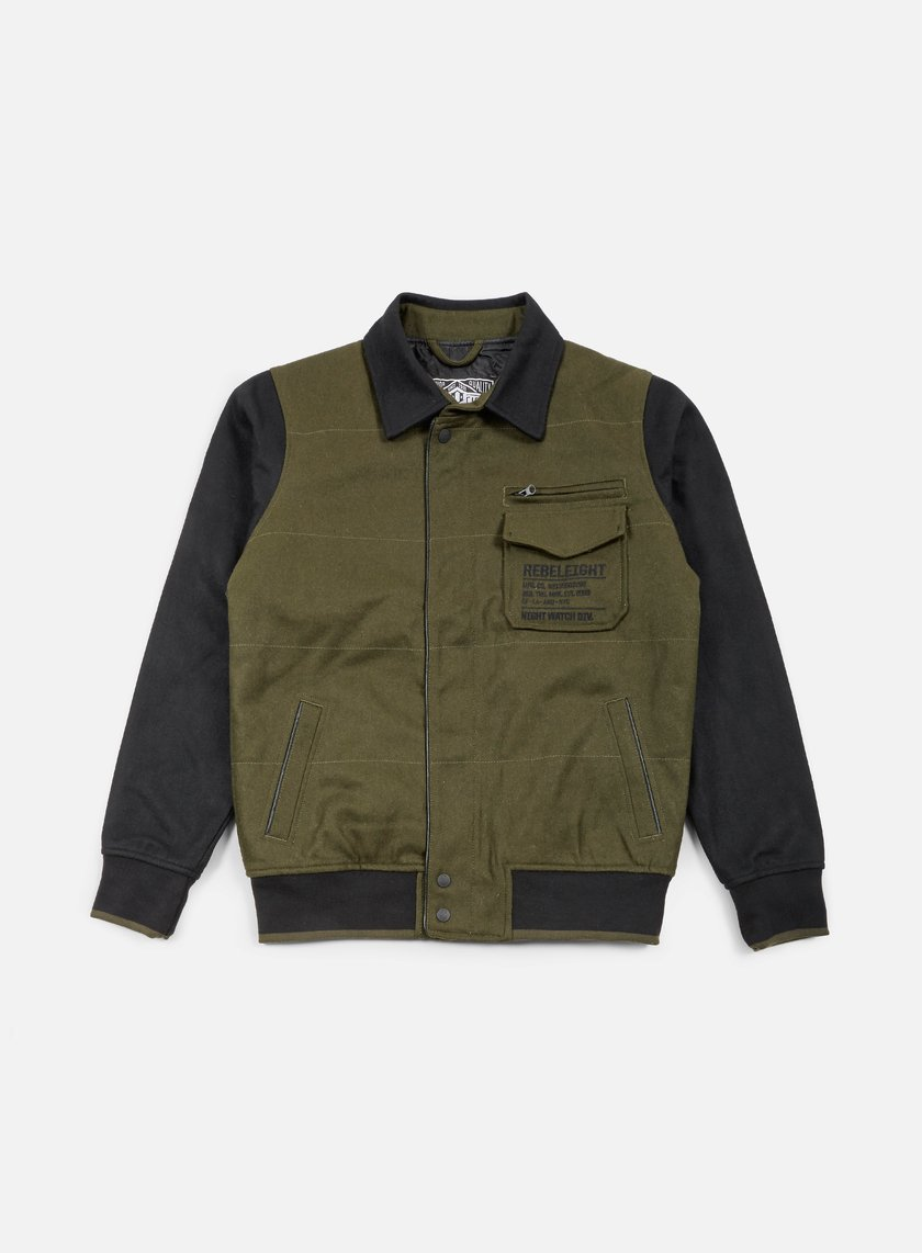 Rebel 8 - Mens Varsity Jacket, Olive/Black