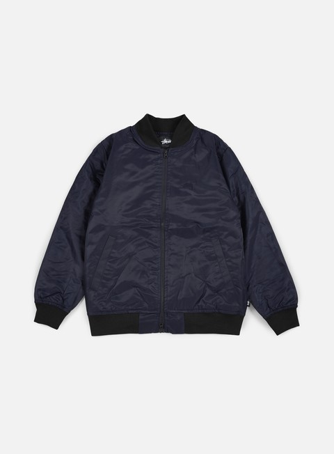 giacche stussy flight satin bomber jacket navy