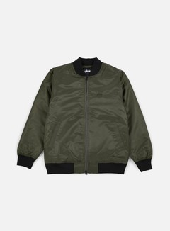 Stussy - Flight Satin Bomber Jacket, Olive 1