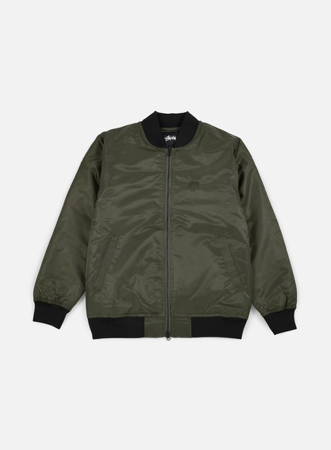 giacche stussy flight satin bomber jacket olive