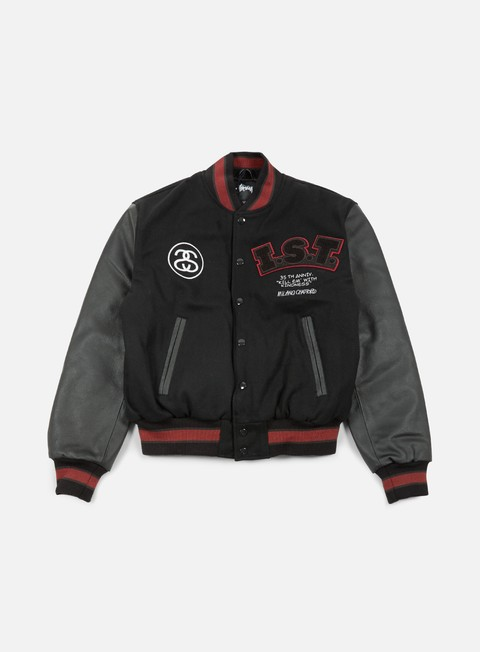 giacche stussy ist 35th varsity jacket black grey red