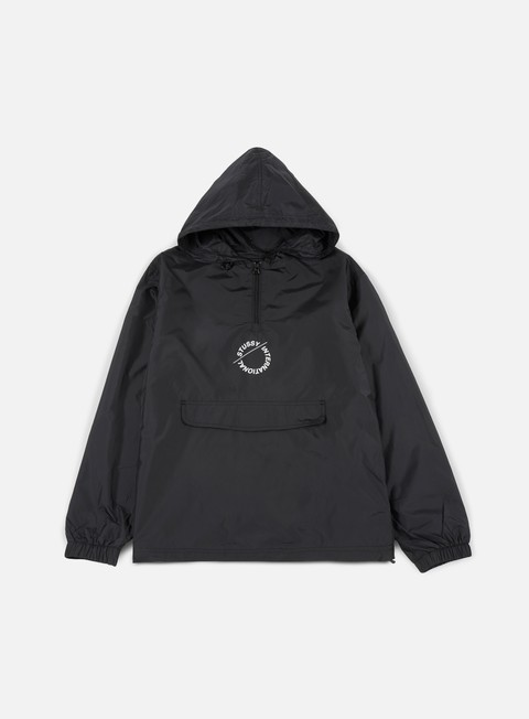giacche stussy nylon pop over jacket black