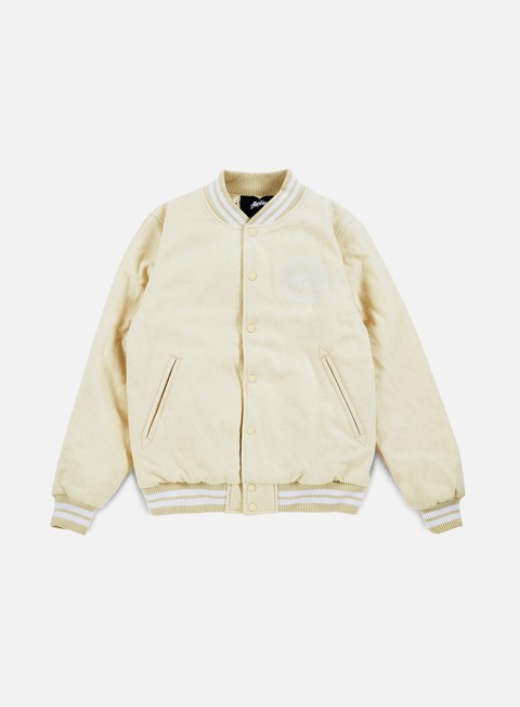 giacche stussy stock varsity jacket off white