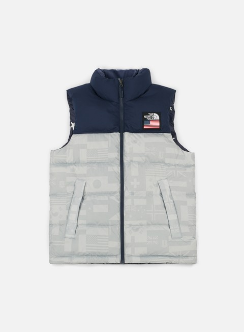 giacche the north face international nuptse vest high rise grey flag print