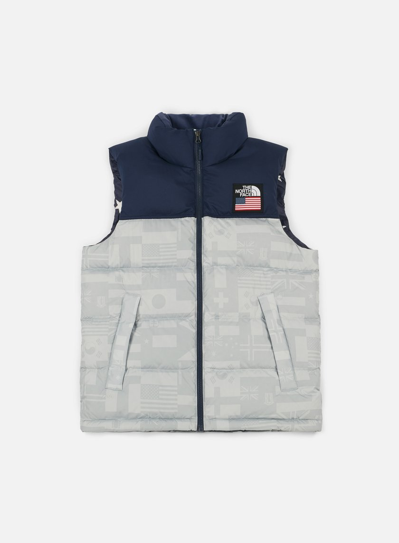 The North Face - International Nuptse Vest, High Rise Grey/Flag Print