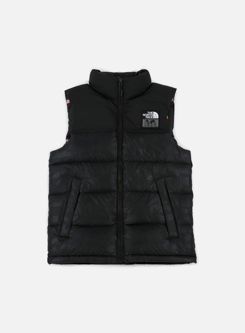 giacche the north face international nuptse vest tnf black flag print