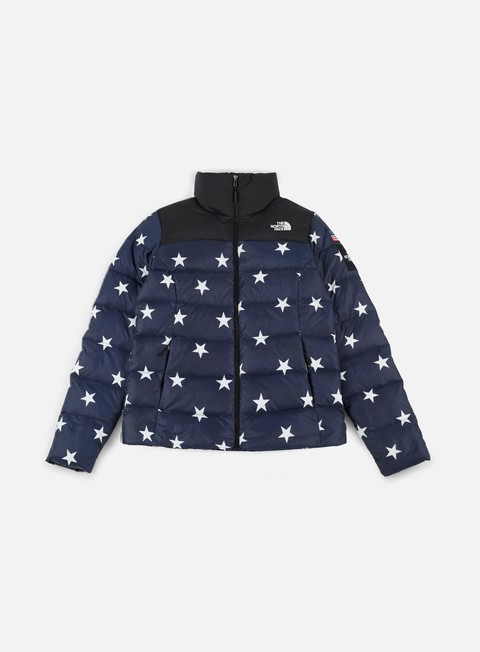 giacche the north face wmns international nuptse jacket cobalt blue star print