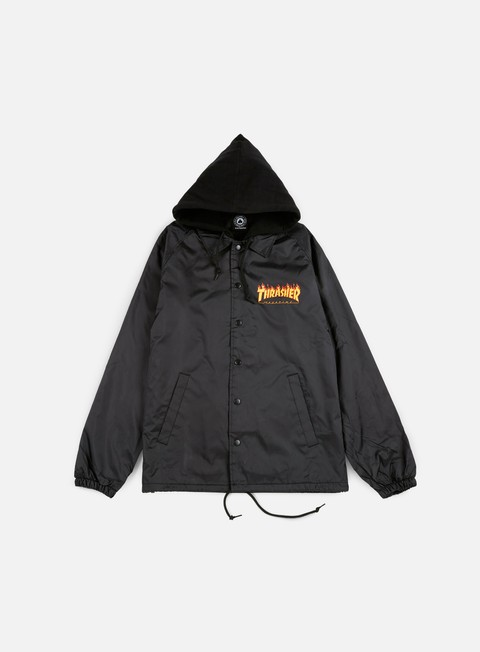 giacche thrasher flame hoodie coach jacket black